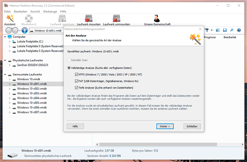 Hetman Partition Recovery. Scan the disk with the application
