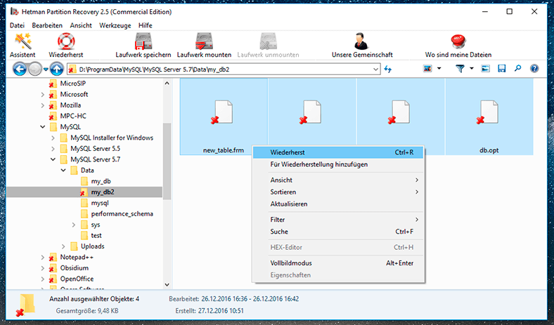 Hetman Partition Recovery. Recover database files