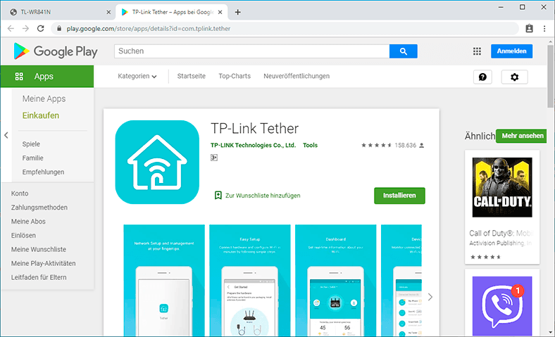Tether Google Play Market