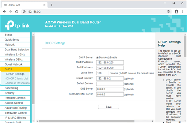 TP-link. DHCP / DHCP Settings
