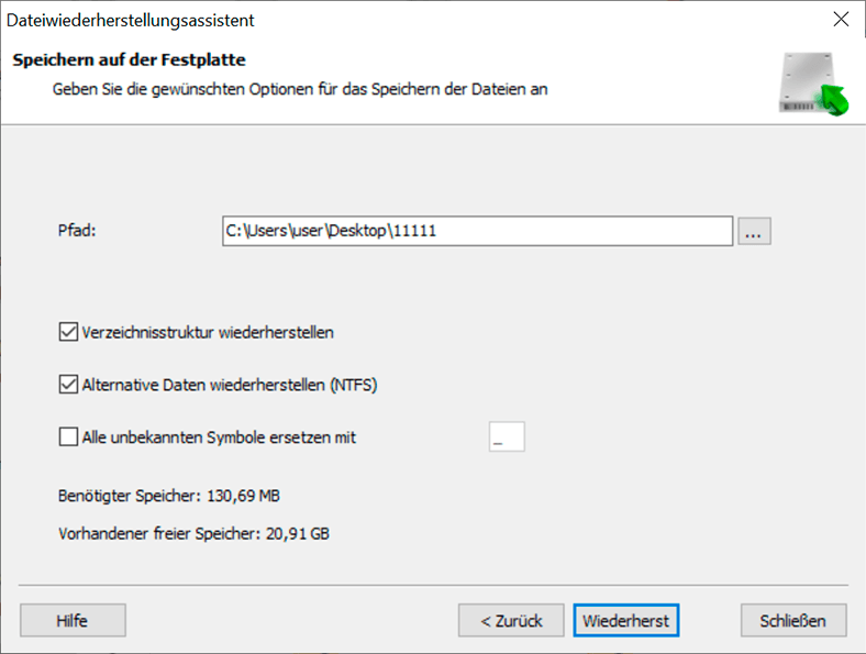 Hetman Partition Recovery. Wiederherstellen