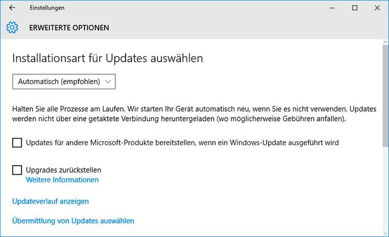 «ATTEMPTED_EXECUTE_OF_NOEXECUTE_MEMORY» BSoD 0x000000FC: installationsart für updates auswählen