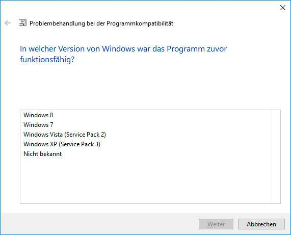«ATTEMPTED_EXECUTE_OF_NOEXECUTE_MEMORY» BSoD 0x000000FC: In welcher Version von Windows war das Programm zuvor funktionsfähig?