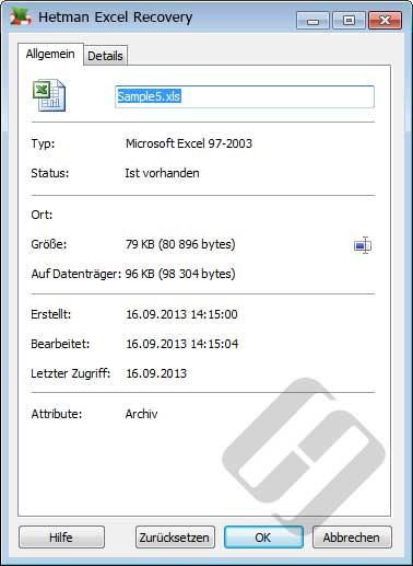 Hetman Excel Recovery: Dateieigenschaften