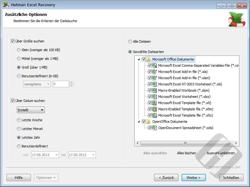 Hetman Excel Recovery: Pre-Recovery-Filter