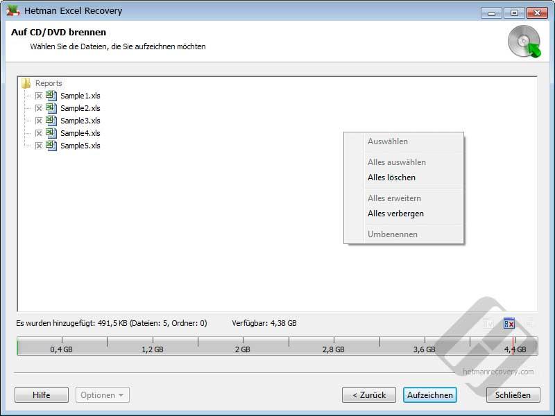 Hetman Excel Recovery: Auswählen von Dateien für Brenn
