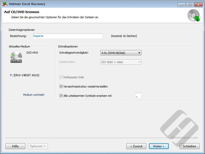 Hetman Excel Recovery: DVD-Optionen