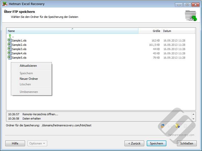 Hetman Excel Recovery: Auswählen von Ordnern auf dem FTP-Server