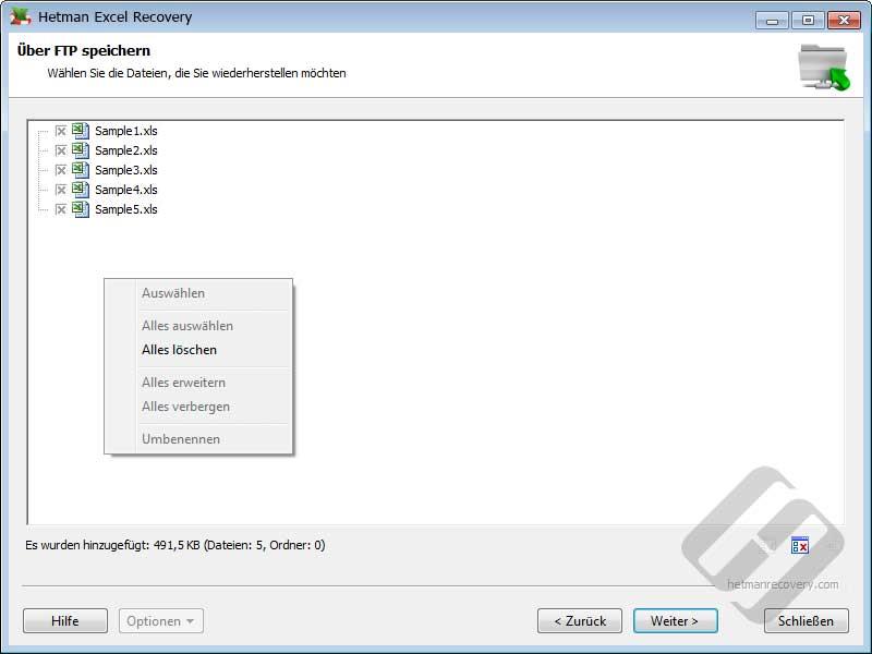 Hetman Excel Recovery: Auswählen von Dateien für Upload