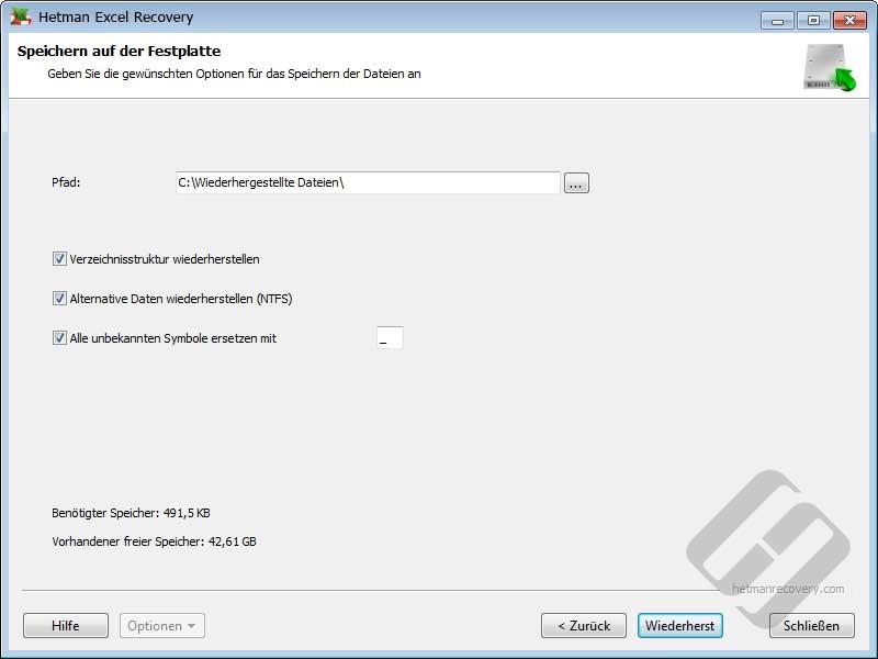 Hetman Excel Recovery: Speichern von Dateien in Verzeichnis