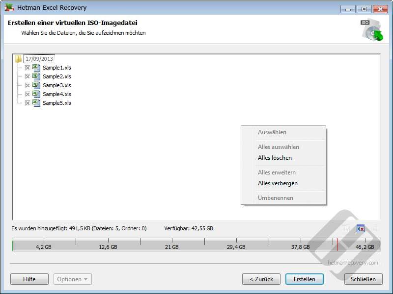 Hetman Excel Recovery: Auswählen von Dateien für die ISO-