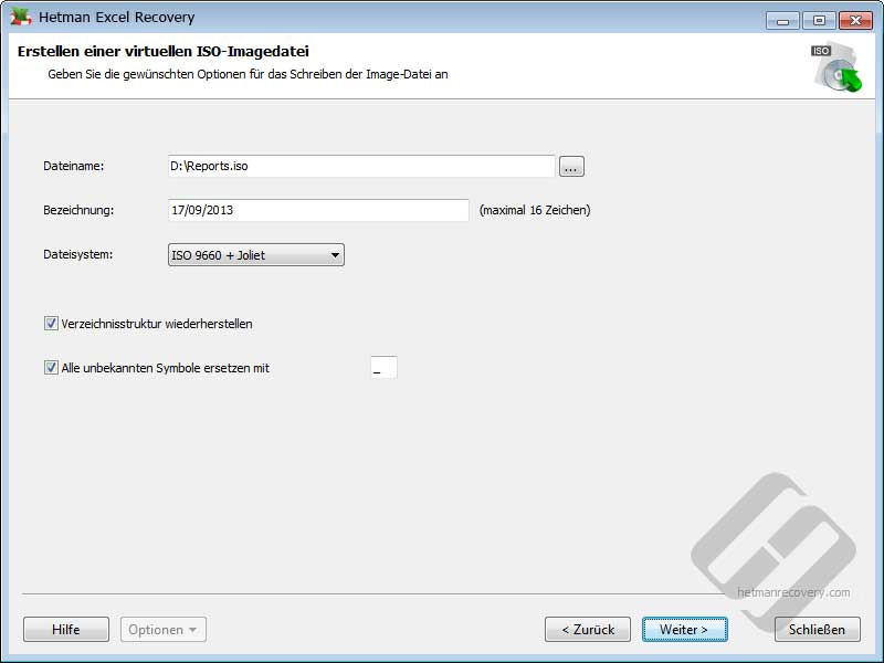 Hetman Excel Recovery: ISO-Optionen
