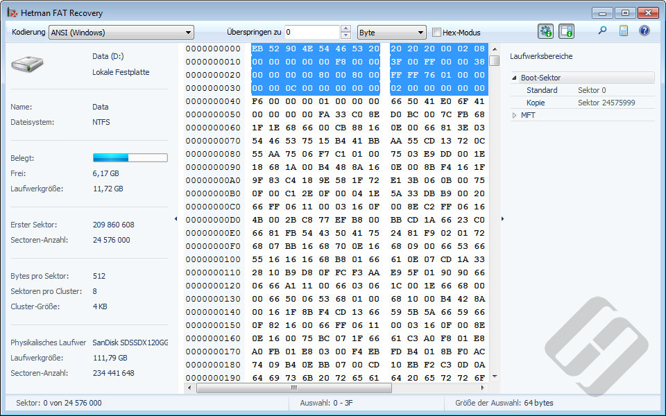 Hetman FAT Recovery: HEX-Editor