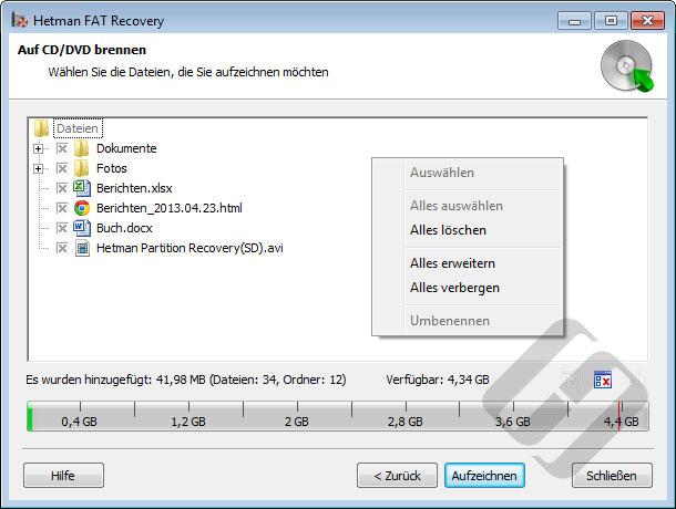 Hetman FAT Recovery: Auswählen von Dateien für Brenn