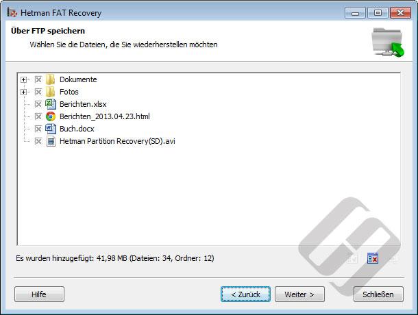 Hetman FAT Recovery: Auswählen von Dateien für den Upload