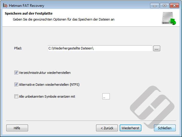 Hetman FAT Recovery: Speichern von Dateien auf Festplatte