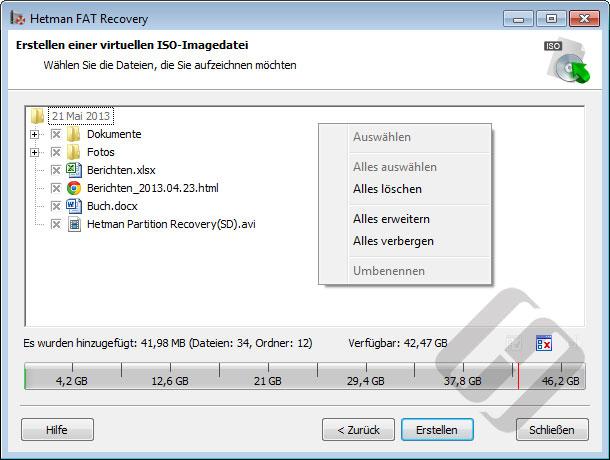 Hetman FAT Recovery: Auswählen von Dateien für das Erstellen von ISO