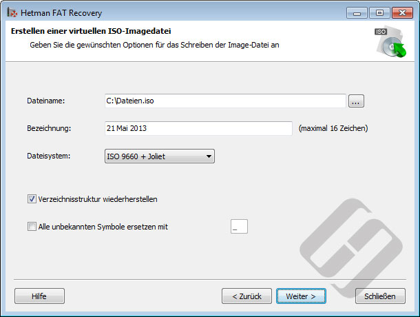 Hetman FAT Recovery: ISO-Optionen