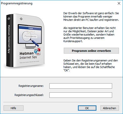Hetman Internet Spy: Anmeldung
