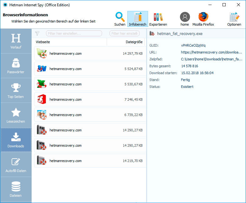 Hetman Internet Spy: Downloads