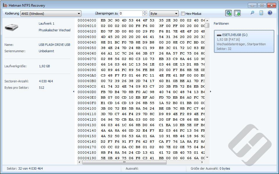 Hetman NTFS Recovery: HEX-Editor