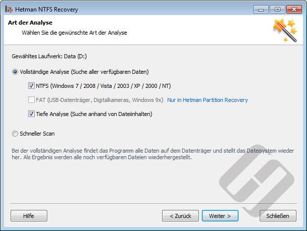 Hetman NTFS Recovery: Suchmethoden