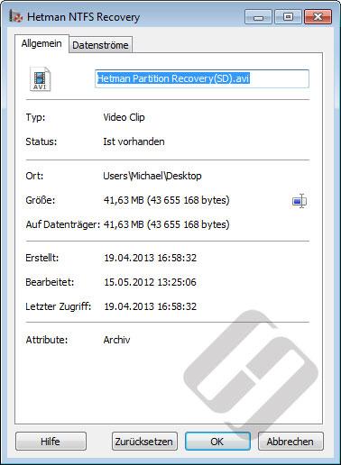 Hetman NTFS Recovery: Dateieigenschaften