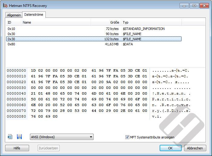 Hetman NTFS Recovery: Alternativer Datenstrom