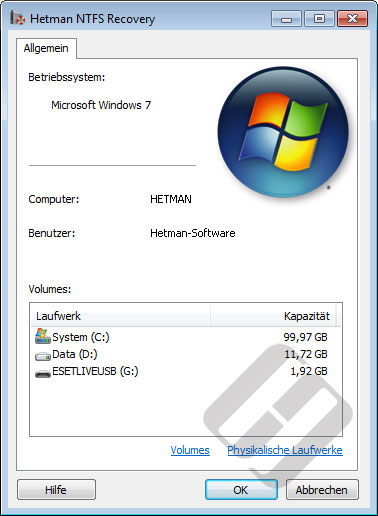 Hetman NTFS Recovery: Systemeigenschaften
