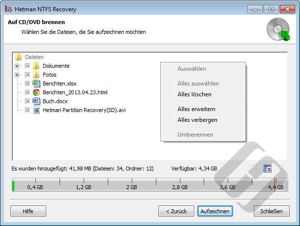 Hetman NTFS Recovery: Auswählen von Dateien für Burn