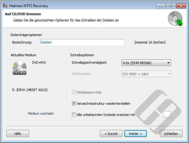 Hetman NTFS Recovery: Brennoptionen