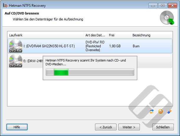 Hetman NTFS Recovery: Auswahl-CD oder DVD-Rom für Brenn