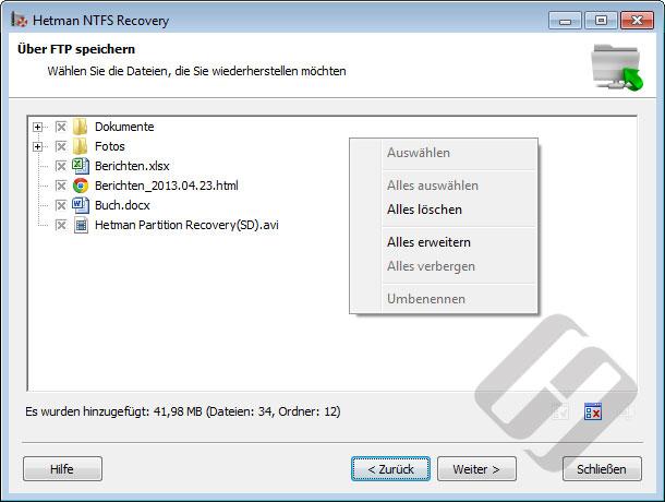 Hetman NTFS Recovery: Auswählen von Dateien für Upload