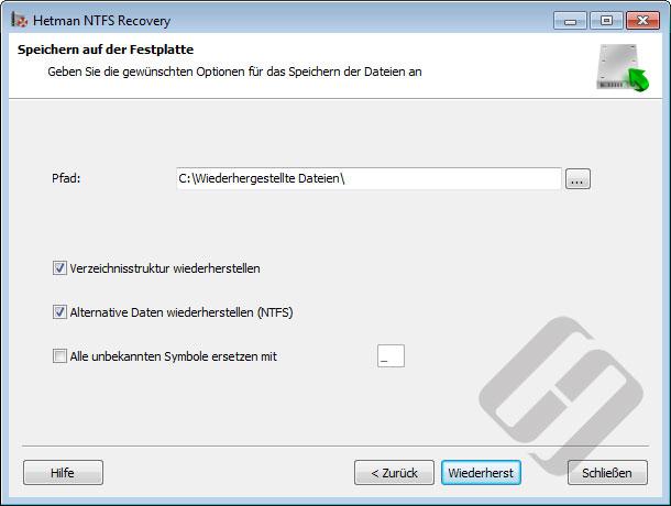 Hetman NTFS Recovery: Speichern von Dateien auf Festplatte