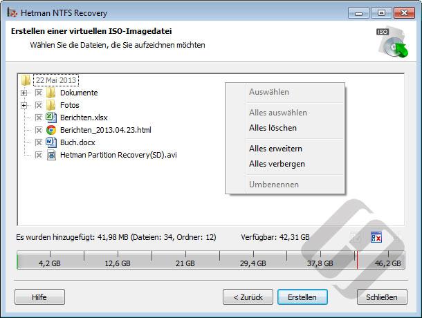 Hetman NTFS Recovery: Auswählen von Dateien für die ISO-