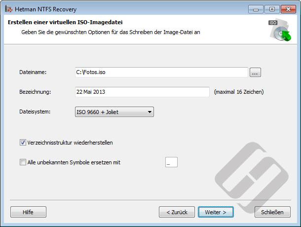 Hetman NTFS Recovery: ISO-Optionen