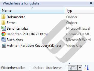 Hetman NTFS Recovery: Dateilisten