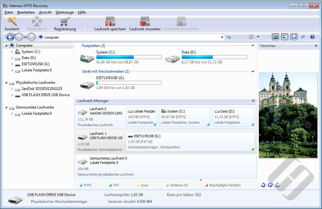 Hetman NTFS Recovery: Hauptformular