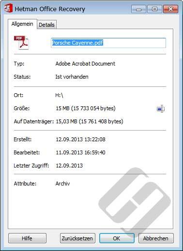 Hetman Office Recovery: Dateieigenschaften