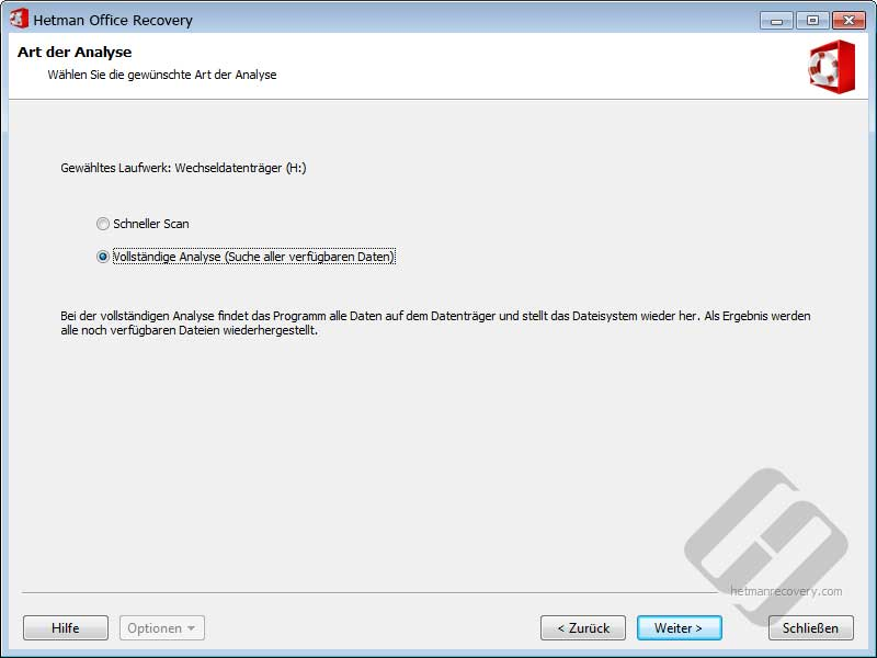 Hetman Office Recovery: Datenträger Scan Ways