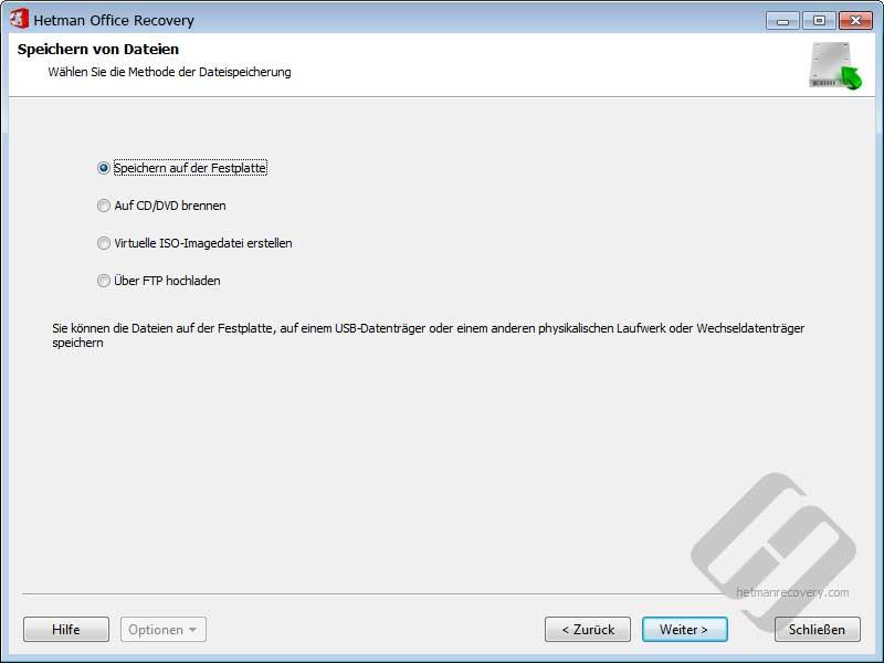 Hetman Office Recovery: Wiederhergestellte Dokumente speichern