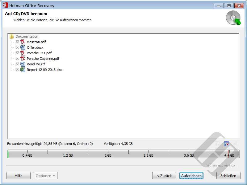 Hetman Office Recovery: Auswählen von Dateien für Disk-Brennen