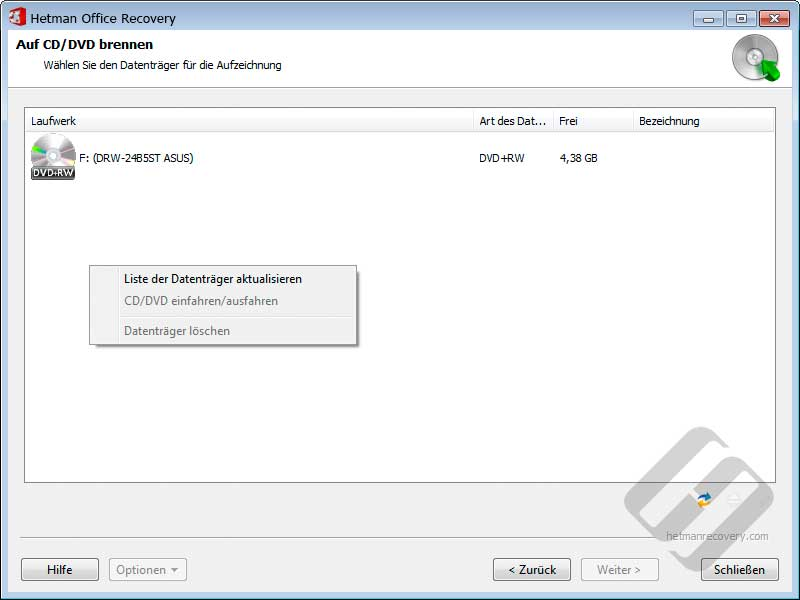 Hetman Office Recovery: Die Wahl-Laufwerk für Festplatten-Brennen