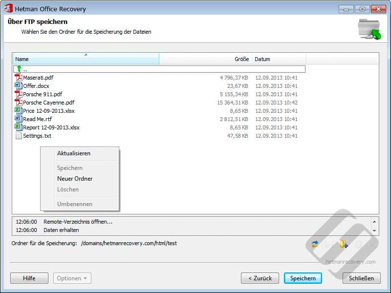Hetman Office Recovery: Die Auswahl Ordner für Datei-Upload