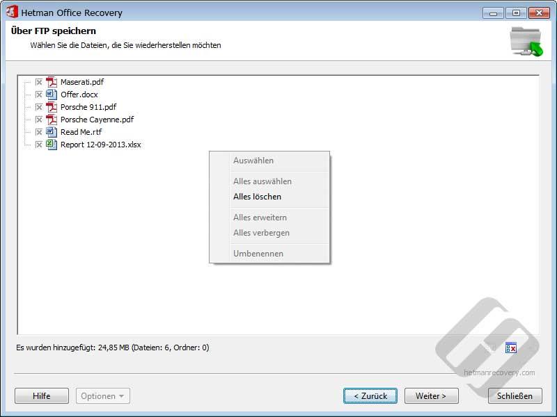 Hetman Office Recovery: Auswählen von Dateien für den Upload
