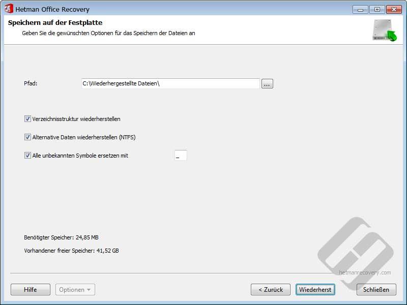 Hetman Office Recovery: Speichern von Dateien auf Festplatte