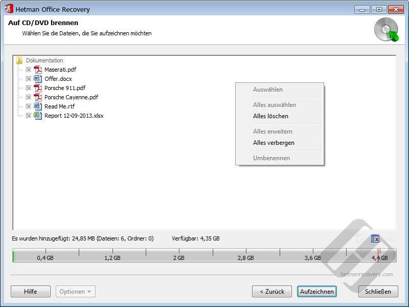 Hetman Office Recovery: Auswählen von Dateien für die ISO-