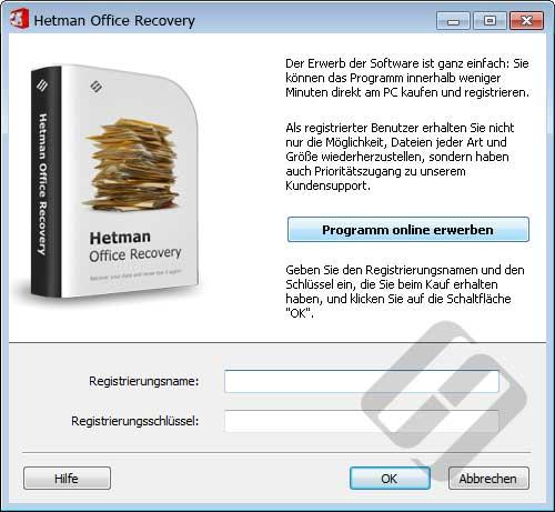 Hetman Office Recovery: Anmeldeformular