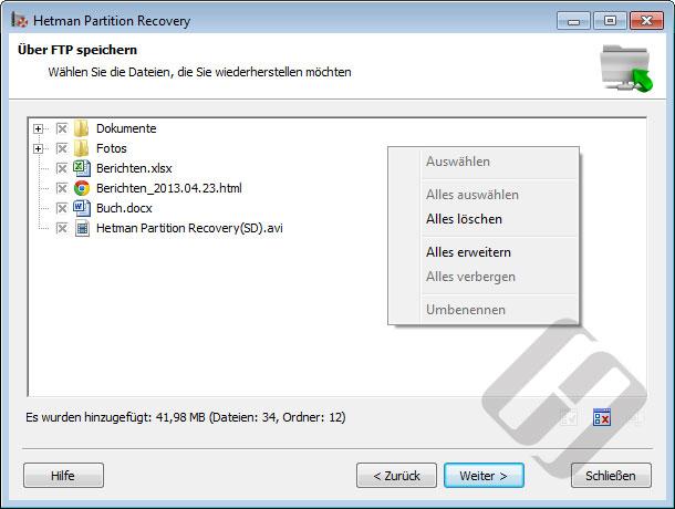 Hetman Partition Recovery: Auswählen von Dateien für den Upload