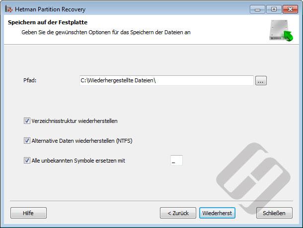 Hetman Partition Recovery: Speichern von Dateien auf die Festplatte